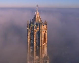 The Dom tower in Utrecht by drone