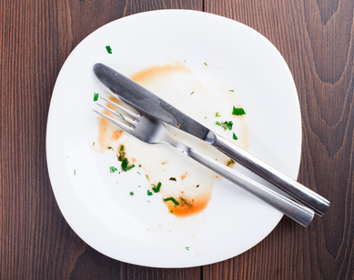Empty plate left after dinner