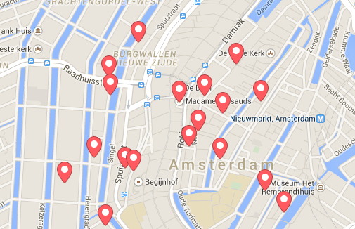 Map showing Airbnb locations in central Amsterdam