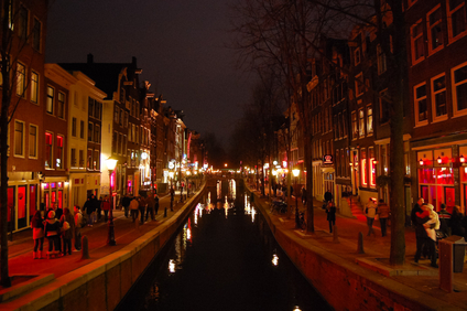 Red light district in Amsterdam.