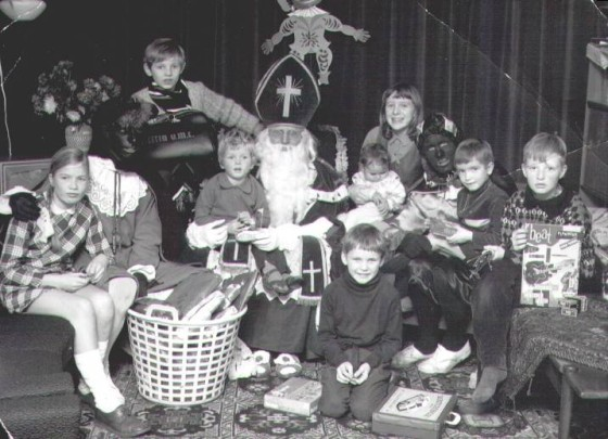 A family Sinterklaas in the late 1960s
