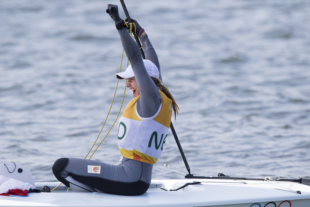 Marit Bouwmeester celebrates her sailing gold. Photo: Wieringa Photography