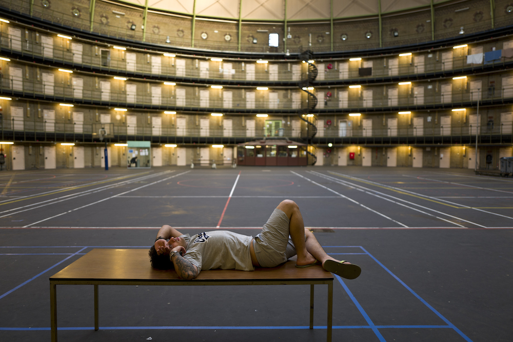 Some prisons, like this one in Haarlem, have been turned into homes for refugees. Photo Muhammed Muheisen AP