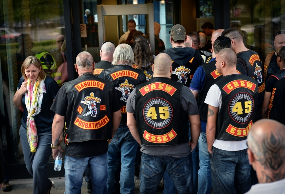Members of the gang outside a court in 2014. Photo: Marcel van den Bergh/HH