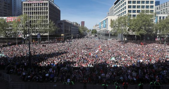 Rotterdam city centre packed with Feyenoord fans to celebrate league title
