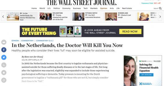 SGP leader 'sounds the alarm' about Dutch euthanasia in US newspaper