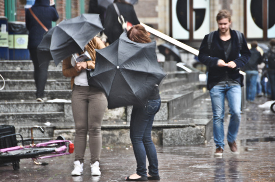 People with umbrellas in wind and rain