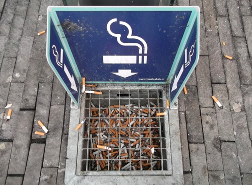 ashtray outside an office block