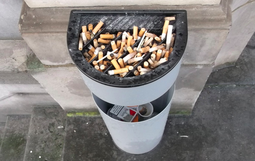 outdoor ashtray, smoking