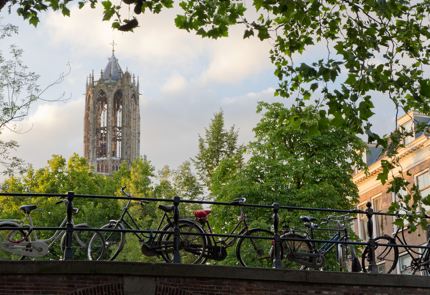 dom tower and bicycles in Utrecht, Netherlands