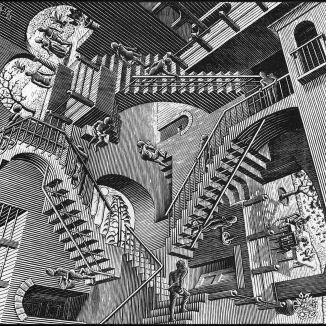 Escher's impossible stairs inspired by high school stairwell