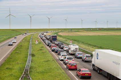 LELYSTAD - AUGUST 17: Traffic moves slowly along a busy highway