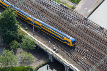 An Intercity train viewed from overhead