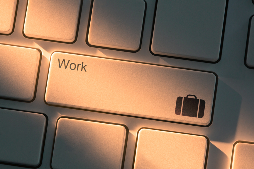 White keyboard with close up on work button