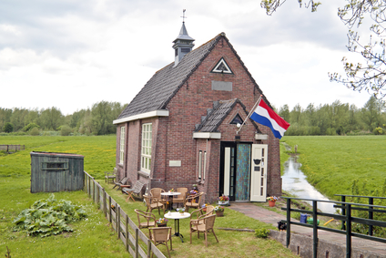 Little medieval church in the countryside from the Netherlands
