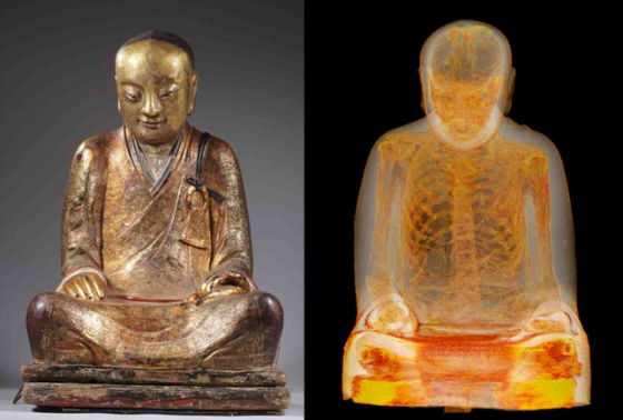 Buddha and scan showing mummy