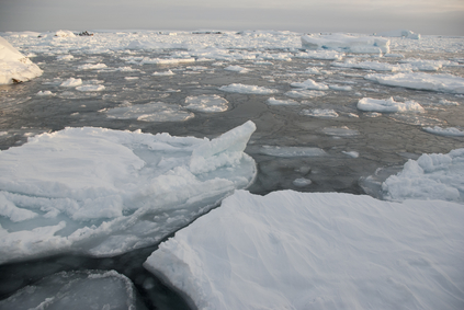 The ice around the Antarctic islands in the winter.