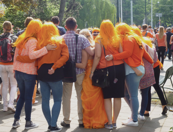 English girls on a hen weekend for King's Day, when it was sunny. Photo: DutchNews.nl