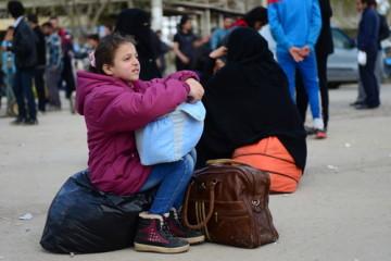 Refugee children on the Syrian border.