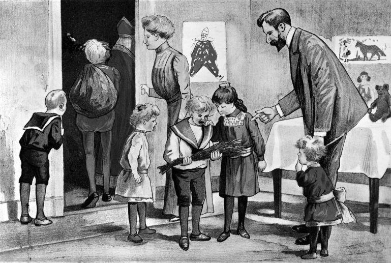 Sinterklaasavond: tekening van gezin waarvan het zoontje de roe heeft gekregen. Sint Nicolaas en Zwarte Piet vertrekken net.