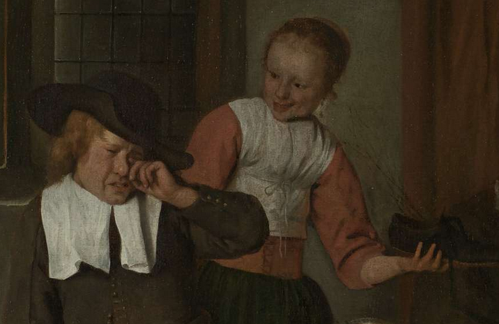 Jan Steen feest of st nicholaas boy crying