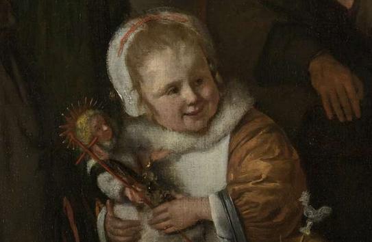 Jan Steen feest of st nicholaas smug girl