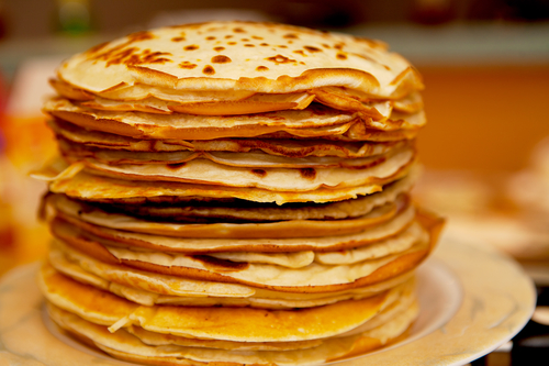 Pile of Dutch pancakes in closeup