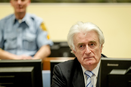 Karadzic in the courtroom for the reading of his verdict at the International Criminal Tribunal for Former Yugoslavia (ICTY) in The Hague. Photo Robin van Lonkhuijsen, via AP