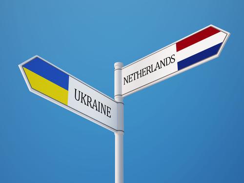 Ukraine Netherlands Sign Flags Concept