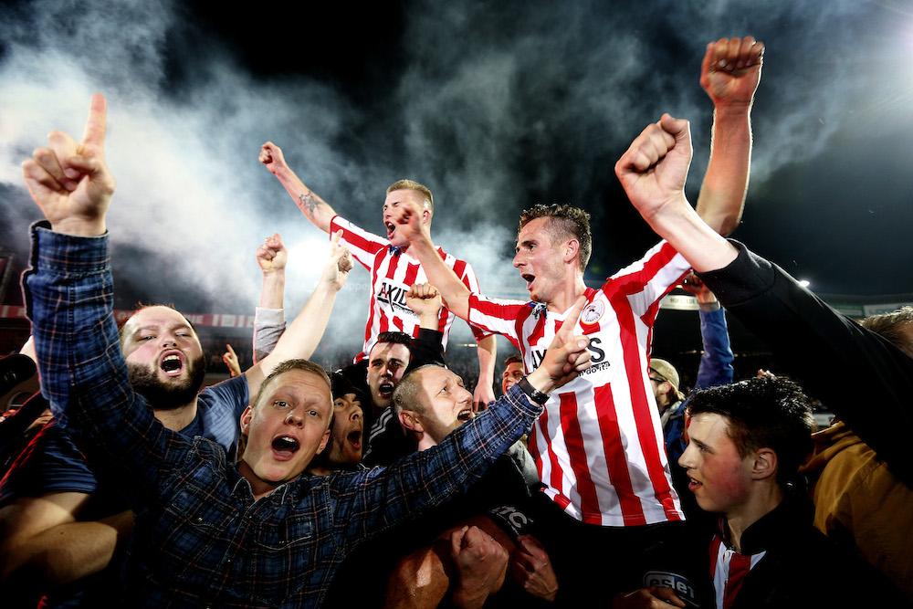 Sparta celebrate Eredivise promotion. Photo: VI Images