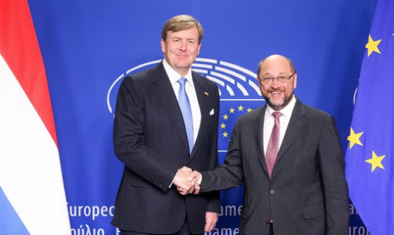 King Willem-Alexander with parliament president Martin Schulz. Photo: EU parliament via Twitter