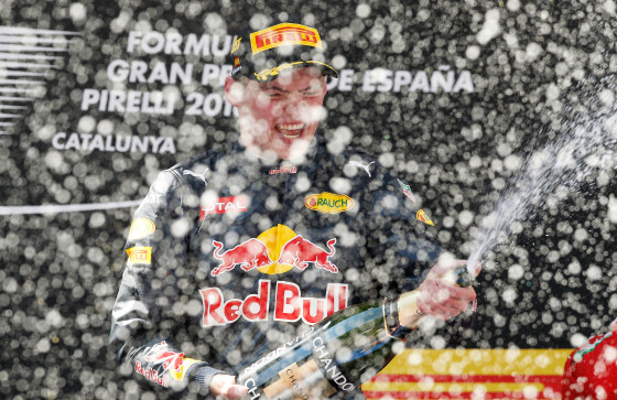 Red Bull driver Max Verstappen celebrates o after winning the Spanish Formula One Grand Prix. Photo: AP Photo/Manu Fernandez