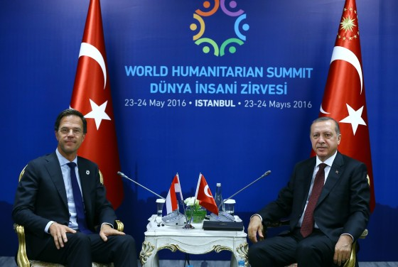 Dutch prime minister Mark Rutte and Turkey's president Turkish president Recep Tayyip Erdogan during the meeting. Photo: Kayhan Ozer / Anadolu Agency