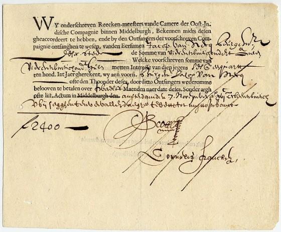 A VOC bond from 1632