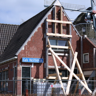 Shored-up homes are a common sight in earthquake-hit Groningen