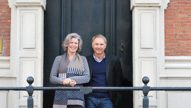 Dan Brown and Esther Ritman at the Ritman Library. Photo Ritman Library