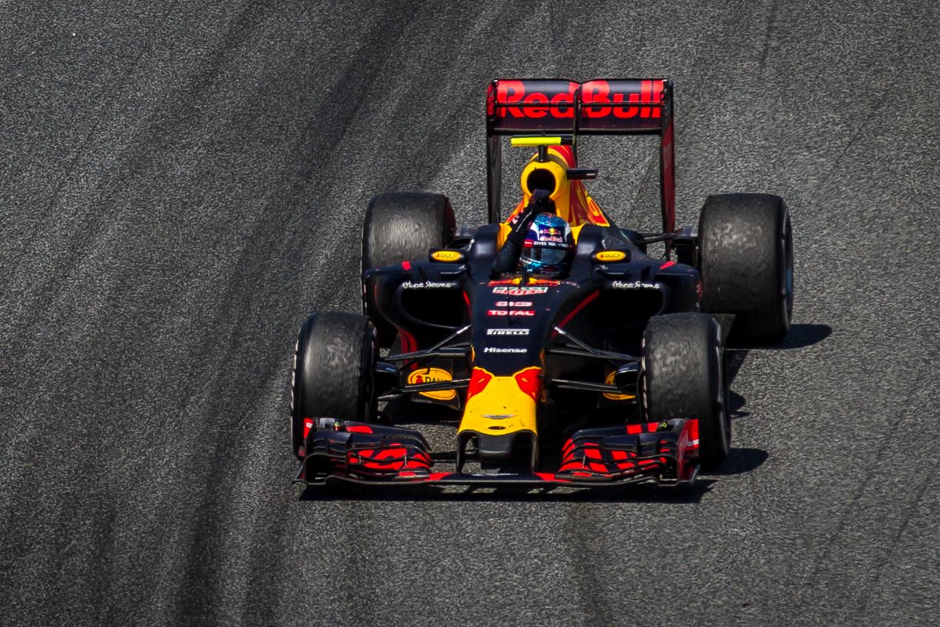 Max Verstappen driving a Red Bull Formula 1 car.