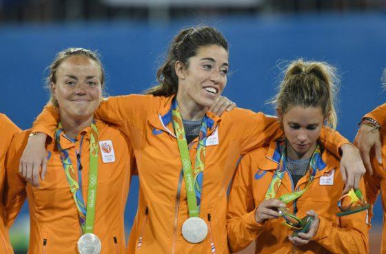 Maartje Paumen , Naomi van As and Ellen Hoog after losing the hockey final to Britain. Photo: Soenar Chamid
