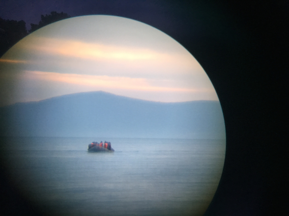 An incoming refugee boat off Lesbos. Photo: Ai Weiwei Studio