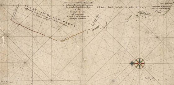 One of Hartog's charts showing western Australia. Photo: Australian Maritime Museum