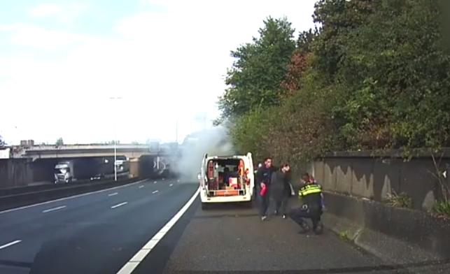 motorway rescue children burning car