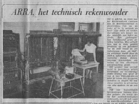 A newspaper clipping showing the 'calculating wonder'. Source TUE.nl
