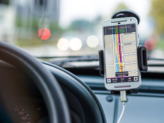 Mobile phone in car.