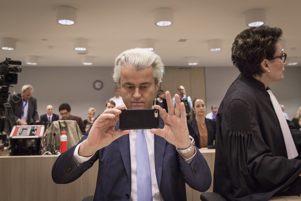 Wilders in court at an earlier hearing. Photo: Dingena Mol / Hollandse Hoogte