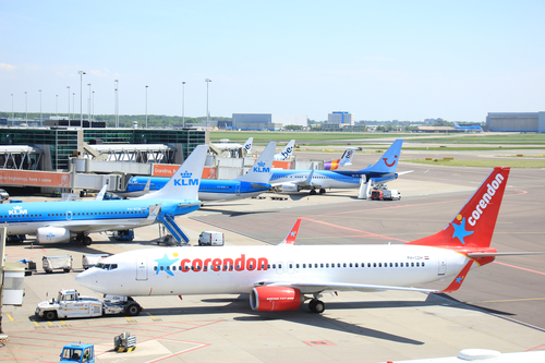 Corendon and TUI planes at Schiphol airport. Photo: Depositphotos.com