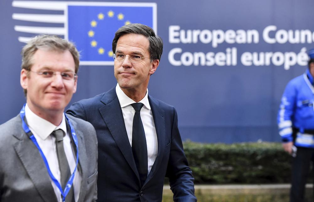 Mark Rutte, second left arrives for an EU Summit in Brussels on Thursday. Photo: AP Photo/Geert Vanden Wijngaert)