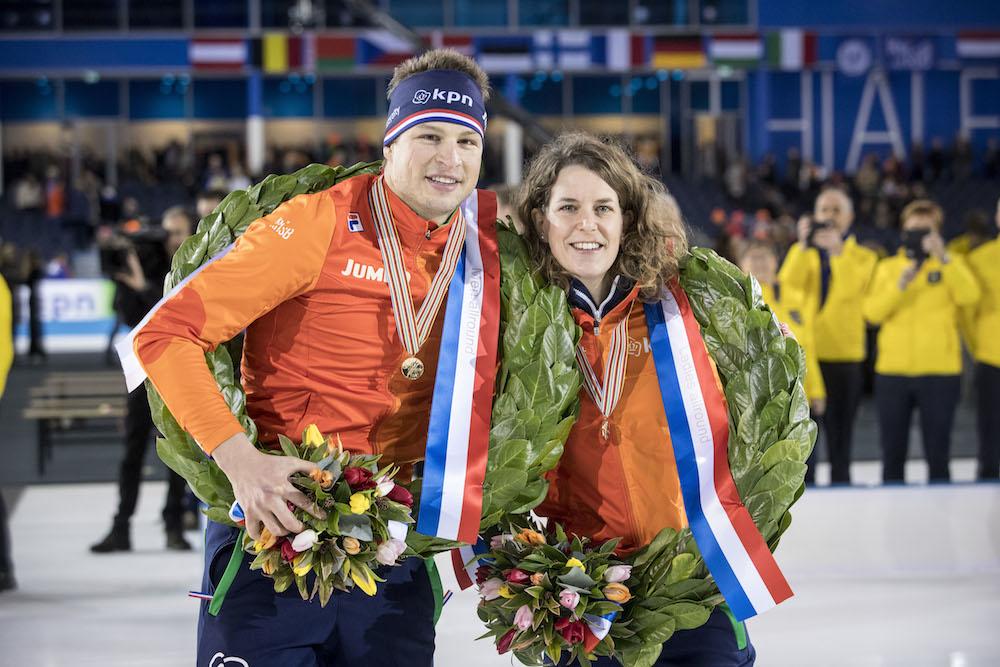 Double Dutch: Sven Kramer and Ireen Wust win European allround titles. Photo: Leo Vogelzang VO via HH