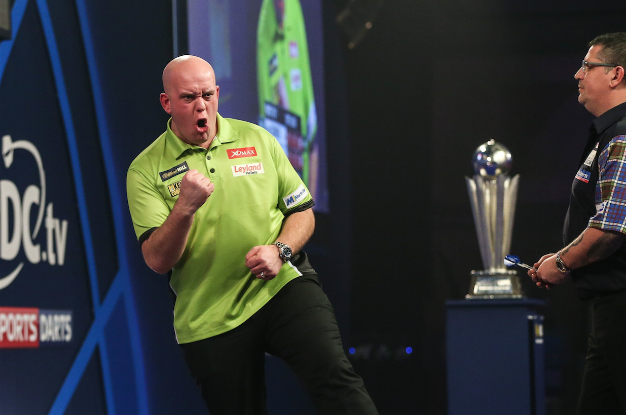 Michael van Gerwen celebrates a win during the World Darts Championships. Photo: ProSports/REX/Shutterstock via VI Images/HH