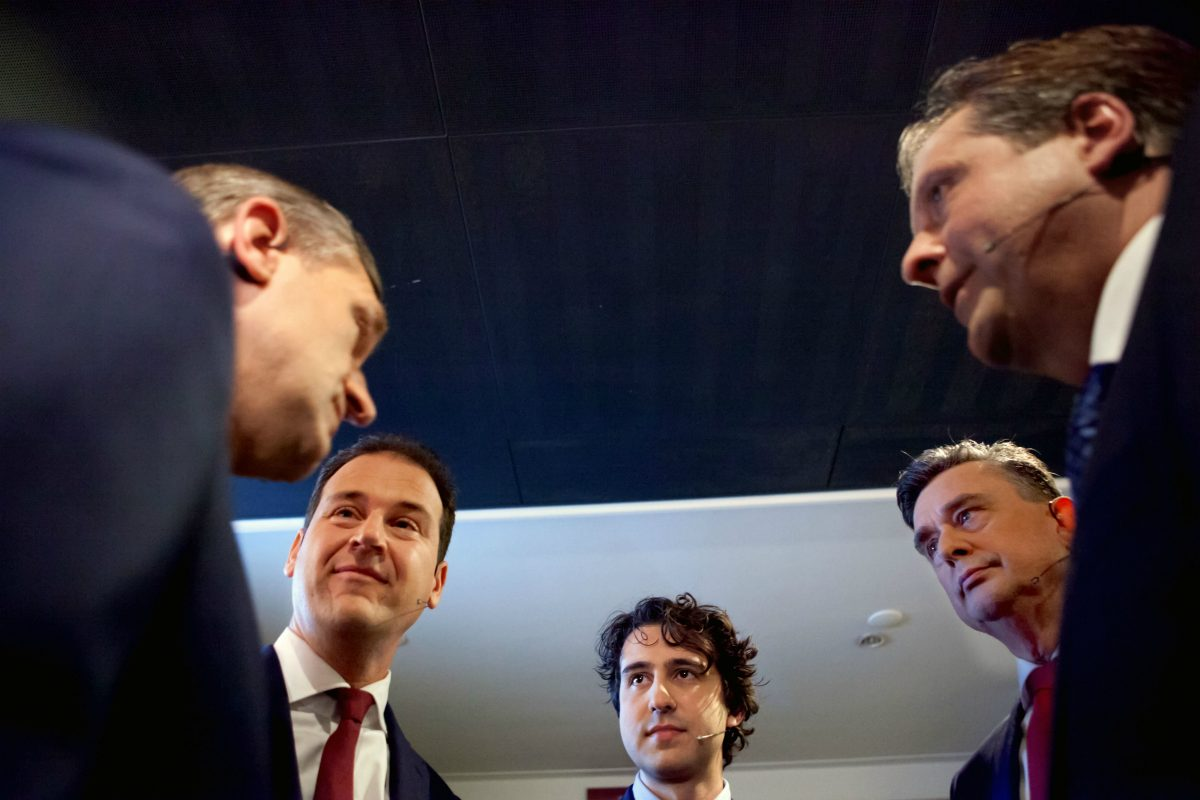 Leaders taking part in the RTL4 TV debate on February 26 2017: Sybrand Buma, Lodewijk Asscher, Jesse Klaver, Emile Roemer and Alexander Pechtold