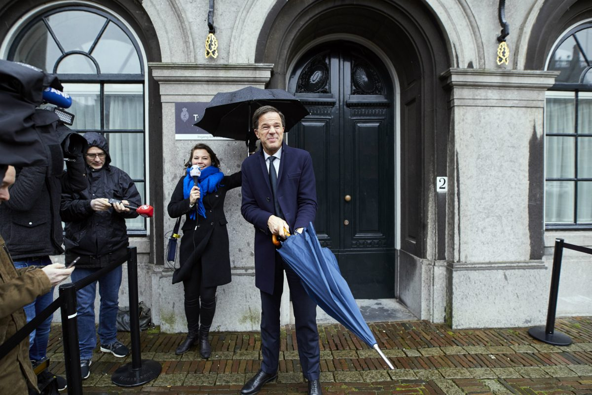 Dutch Prime Minister Mark Rutte outside Parliament after exploratory coalition talks with Edith Schippers on March 20.
